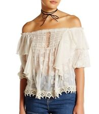 FREE PEOPLE Spirit In The Sky Off the Shoulder Ruffle Top Color Ivory $168 M NWT