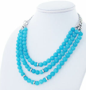 Fossil-Brand-Silver-Tone-Color-Items-Teal-Blue-Jade-Bead-3-Tier-Necklace-98