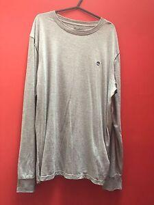 Timberland-Grey-Long-Sleeve-Logo-T-Shirt-Size-M