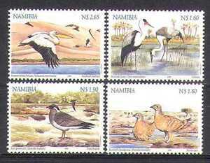 Namibia-1999-zone-umide-Birds-4v-Set-ref-b1364
