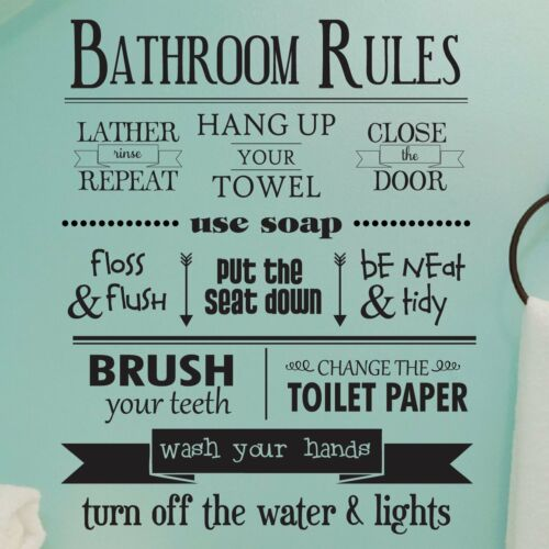 """BATHROOM RULES Removable Home Wall Decal Vinyl Quote Stickers Decor Art 48/"""""""
