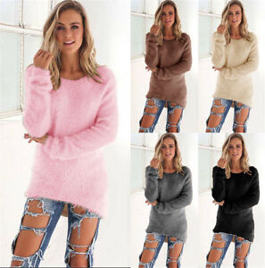Womens-Fluffy-Sweater-Jumper-Ladies-Casual-Long-Sleeve-Warm-Pullover-Tops-Blouse