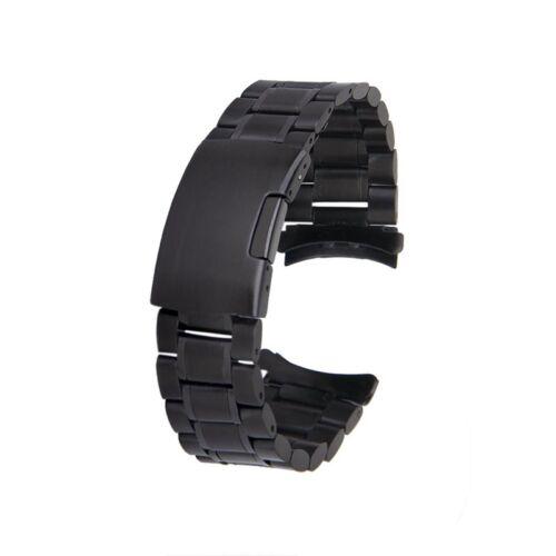 Noir Montre en Acier Inoxydable Bande Bracelet Liens Extremite Recourbee C J4T4