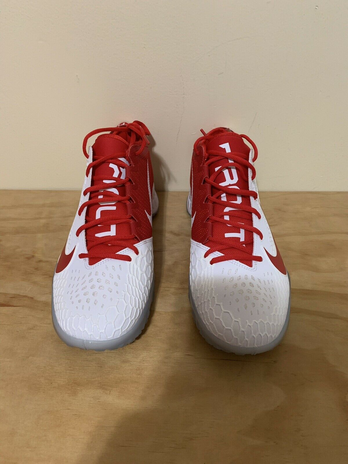 sports shoes d6aba b8813 NIKE FORCE ZOOM TROUT TROUT TROUT 5 TURF SHOES WHITE RED AH3374-161 SIZE  12.5