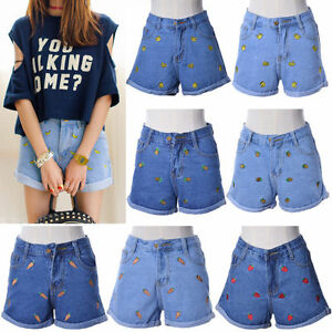c59437ee52a Image is loading Women-Girls-Banana-Strawberry-Fruits-Embroidered-Denim- Shorts-