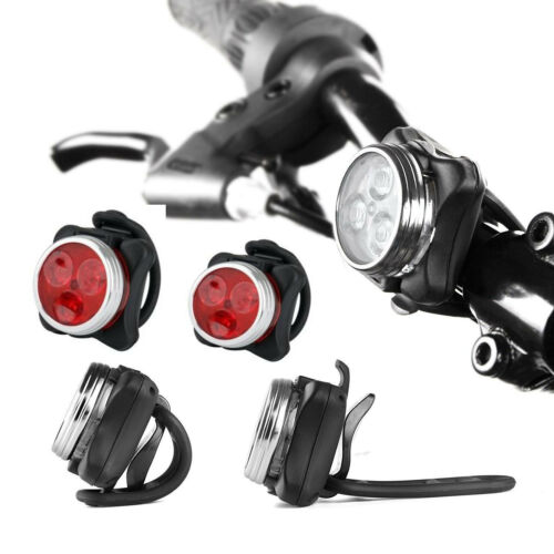 USB Rechargeable Cycling Bicycle Bike 3 LED Head Front Rear Tail  Light Lamp ON