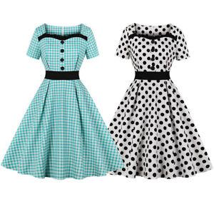 50s-Women-039-s-Rockabilly-Retro-Summer-Dress-Vintage-Check-Dot-Pinup-Evening-Dress