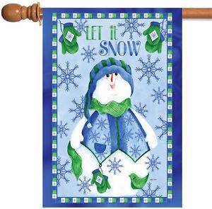 Toland Snowman Mitten 28 x 40 Winter Let It Snow Blue ...