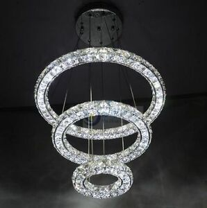 Image is loading Deluxe-LED-Round-3-Layer-Crystal-Pendant-L&- & Deluxe LED Round 3 Layer Crystal Pendant Lamp 3 Tier Ring Ceiling ...