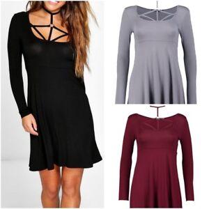 9cd2e69e84c45 New Ex Boohoo Skater Dress with Harness Choker Black Grey Red Size 4 ...