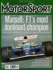 Motor Sport Jul 2002 - Nigel Mansell, Le Mans 1986, Skoda 130RS, Patrese, Fulvia