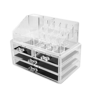 Image Is Loading Clear Acrylic Cosmetic Storage Case Jewelry Makeup  Organizer