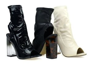 Genial Women's Fashion Boots - Transparent Block High Heel In Stylish Open Back Design