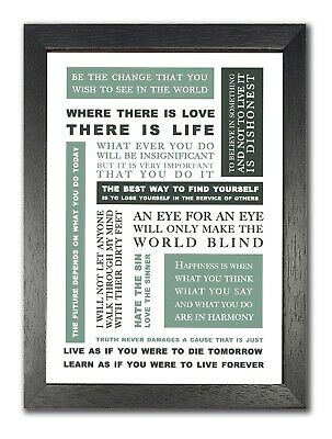 Mahatma Ghandi Be The Change Happiness Inspirational Quote Poster Live Best Life