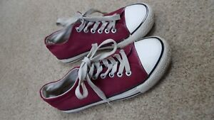 Canvas Size Girls Ladies Red Wine Casual 4 Pumps w8U8AT