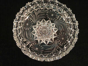 Glass-Scalloped-Floral-Etched-Serving-Dish-Bowl-6-3-4-034-x-2-034