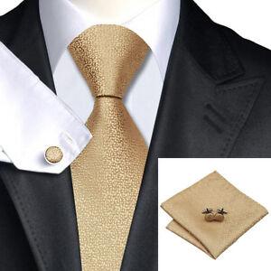 100ba38638a3 100% Gold Silk Tie, Pocket Square & Cufflink Set For Weddings ...