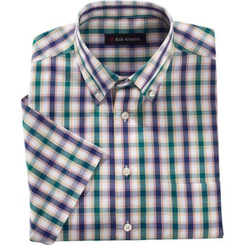 Cura Leggero Uomo Camicia Quadri Camicia Estate Tempo Libero Camicia Verde Blu A Quadri M