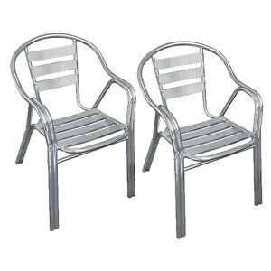 Sedie Alluminio Impilabili.Dettagli Su Coppia Di Sedie In Alluminio Impilabili Per Arredamento Esterno O Bar