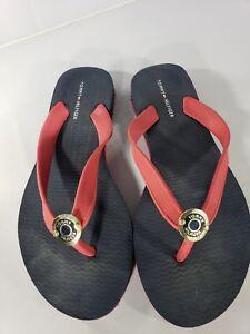 0d66f56a5ef5 Tommy Hilfiger Flip Flops Sandals Thongs Black Red Design Women s ...
