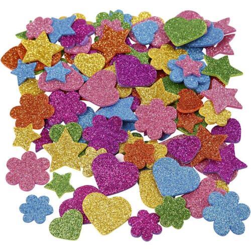 Herz Moosgummifiguren 800sort. D: 19+29 mm Blume Stern