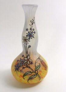 Legras-Enameled-Cameo-Glass-Vase-8-034-Signed-Legras-French-Art-Nouveau