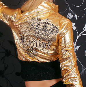 Sexy-Miss-Damen-Jacke-Crash-Lederimitat-Krone-Strass-gold-metallic-S-34-M-36-L38