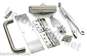 Image is loading Fire-Door-Ironmongery-Pack-Door-Closer-Hinges-D-  sc 1 st  eBay & Fire Door Ironmongery Pack - Door Closer Hinges D Handle Push Plate ...