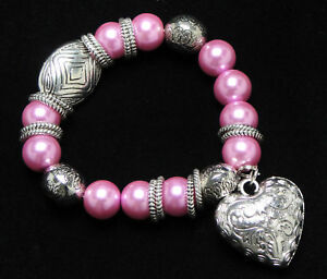 Handmade-Acrylic-Pearl-Tibet-Pink-Stretch-Bracelet-Heart-Charm-Bridal-Shower-Gif