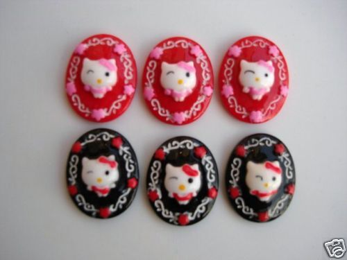 20 Oval Kitty Cat Resin Flatback Button//bow//Craft Embellishment//Cabochon B15