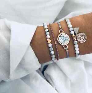 4 teiliges Armband Set Armreif Bohemian Indi Modeschmuck Anker Herz Marmor Love