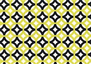 Designer Fabric Chartreuse Black Geometric Print Cotton Drapery