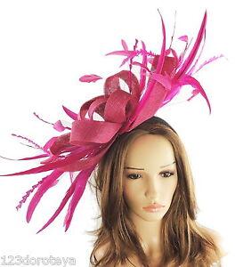 Image Is Loading Cerise Magenta Dark Pink Fascinator For Ascot Weddings