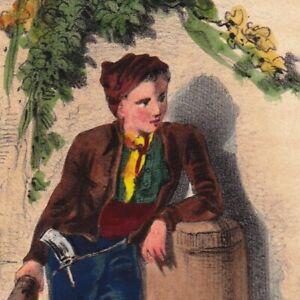 Gravure-Romantique-1843-Enfant-Ramoneur-Irlandais-Irlande-Eire-Ireland