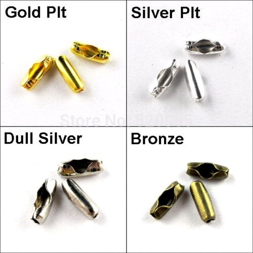 20 Ball Chain Connectors Bead Ends Clasps Clips Jewelry Findings Fit 1.5 2.4 3.2