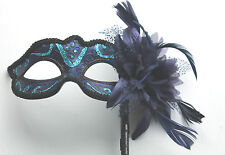 BLUE BLACK & TURQUOISE HAND HELD ON A STICK VENETIAN CARNIVAL MASQUERADE MASK