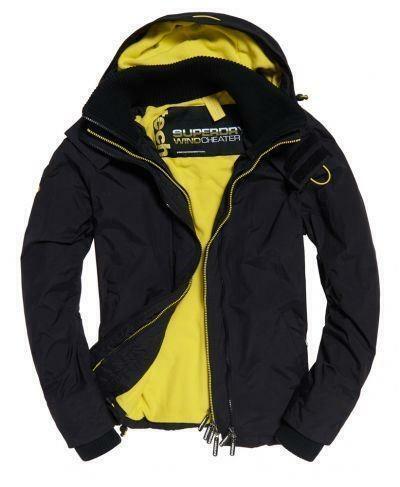 Superdry Mens Arctic Hooded Zip Windcheater Jacket Bodywarmer Top Black