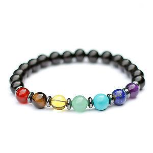 Genuine-Chakra-Bracelet-7-Chakra-Healing-Gemstones-Black-Onyx-Beads-UK-Made