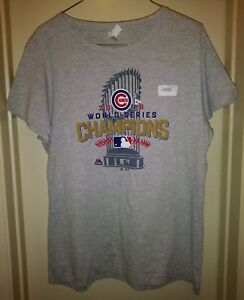 sports shoes 47bc3 e96d4 Details about Majestic Chicago Cubs World Series Champions T-Shirt Womens  Large Shirt USA NWT