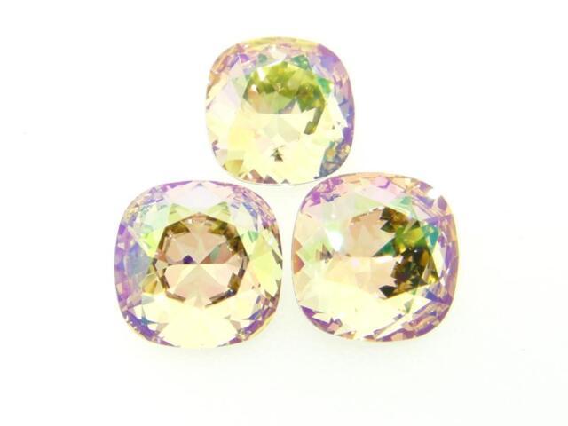 Swarovski Square Cushion Cut Stones Art. 4470 10mm Luminous Green 3 Pieces cc