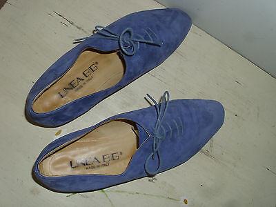 Italy: feinste Leder Schnürschuhe 39 wie 38! Linea Big Schuhe blau / silber neuw