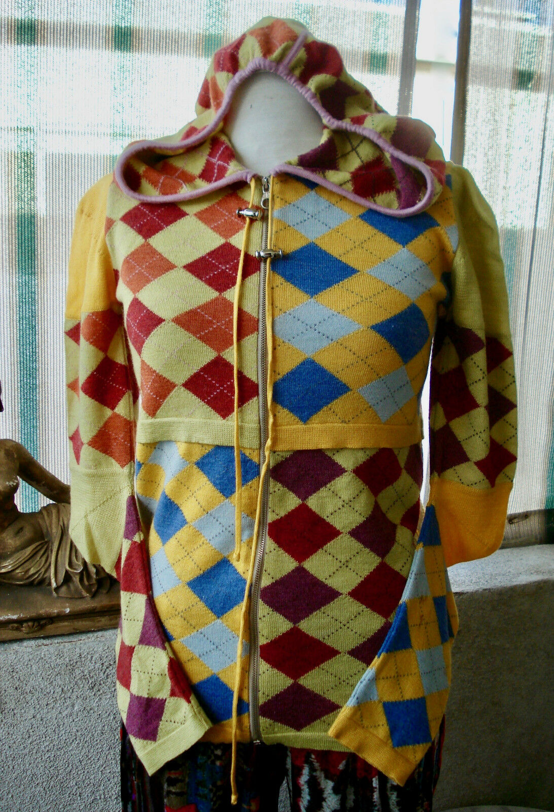 Christian Dior John Galliano Harlequin Zippered HOODIE Cardigan Sweater  S