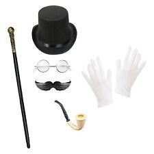 Men's Victorian Gentleman Steampunk Halloween Top Hat Fancy Dress Costume Set