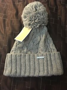 8a5e28d26 Details about Michael Kors Light Gray Pom Pom Beanie Knit Cable Ribbed  Women's Hat ($48)