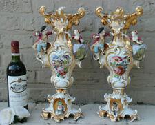 PAIR XL French vieux paris porcelain vases figurines birds floral Attr. petit