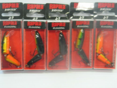 Lot Of 5 New In Box Rapala Jointed J-7 PERCH Crankbaits Lure