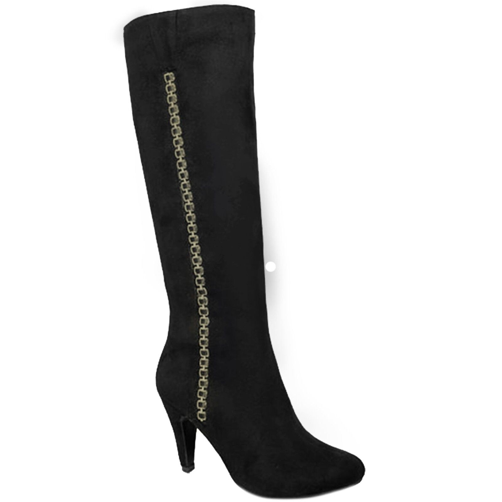 GLC565 Hadley Faux Suede Side Zip Pointed Toe Chain Calf High Heeled Stiefel