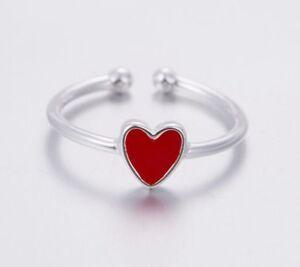 925-Sterlingsilber-Damen-Ring-Ringe-Herz-Symbol-Verstellbar-Silber-Filigran-NEU