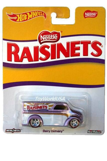 Hot Wheels Pop Culture Nestle Raisinets Purple Dairy Delivery w//Real Riders