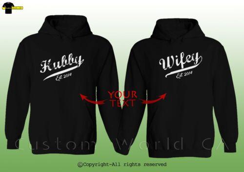Couple Custom Made Matching Hoodie Hubby /& Wifey /& Put Your Custom Date EST.